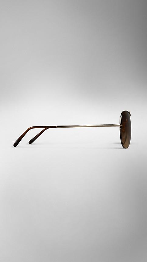 Pale gold Half-Frame Aviator Sunglasses - Image 4