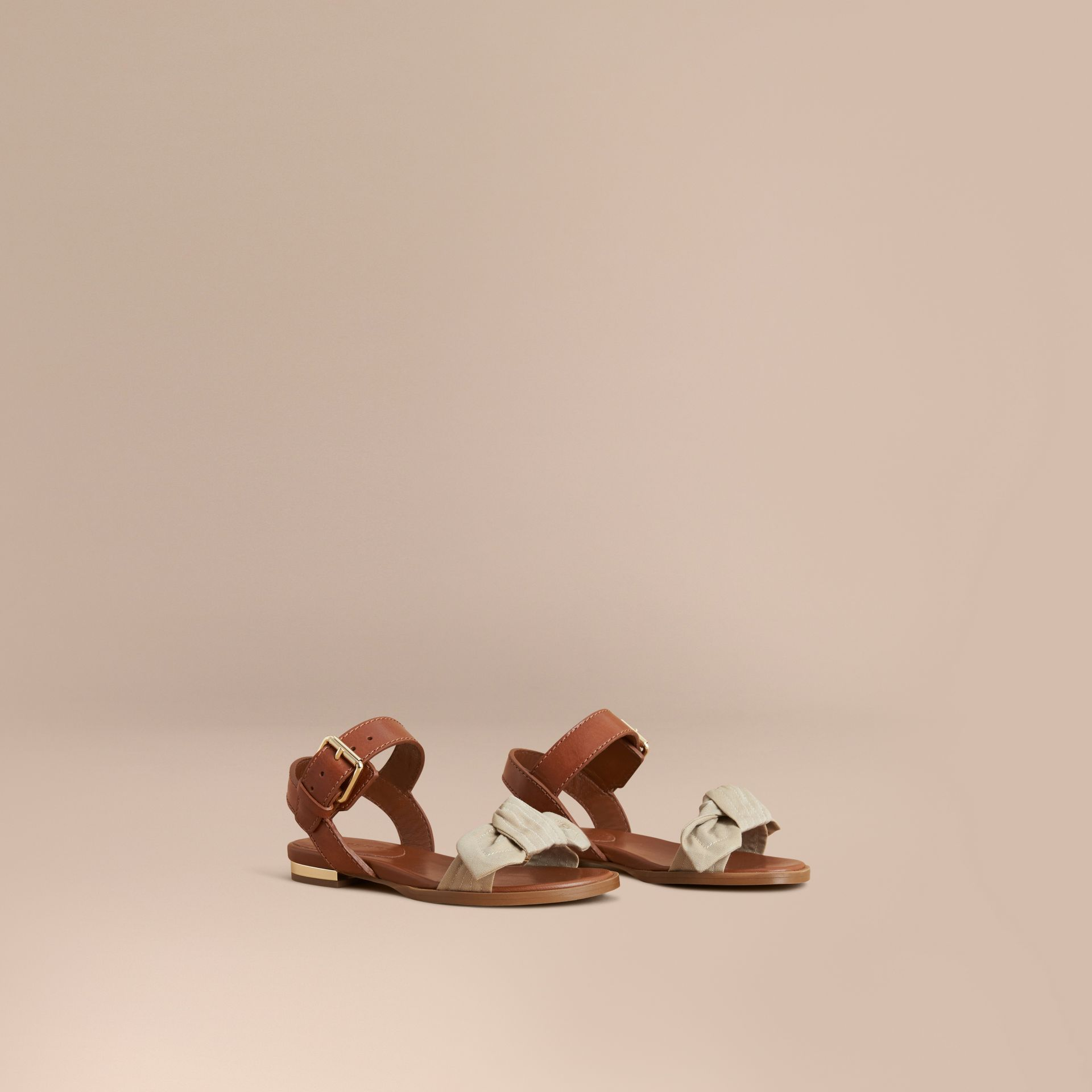 Cotton Bow and Leather Sandals in Honey | Burberry - gallery image 1