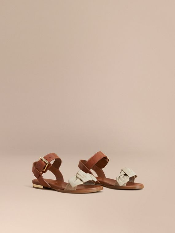 Cotton Bow and Leather Sandals | Burberry Singapore