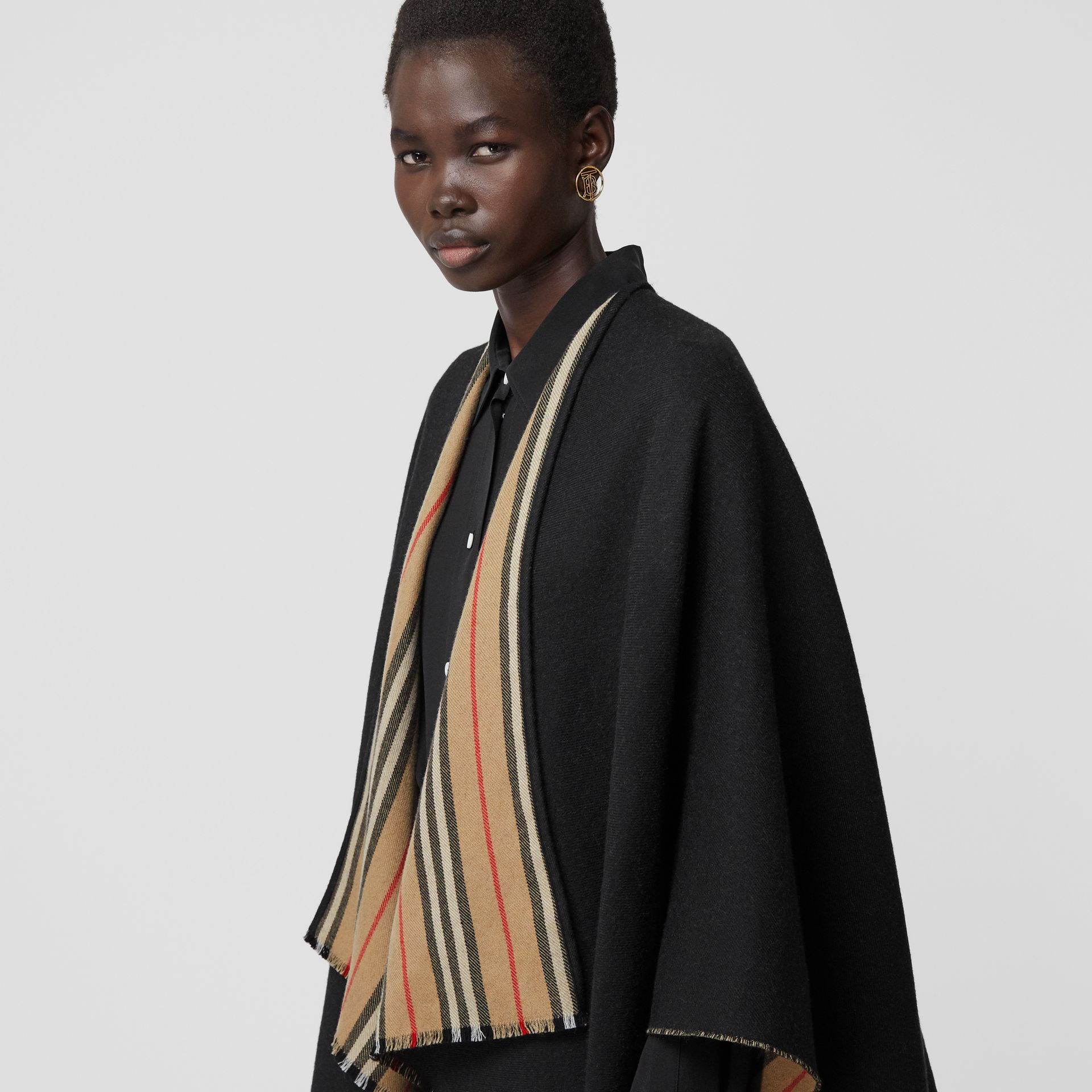 Icon Stripe Detail Wool Cape in Black - Women | Burberry - gallery image 1