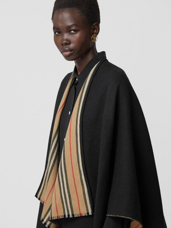 Icon Stripe Detail Wool Cape in Black - Women | Burberry - cell image 1