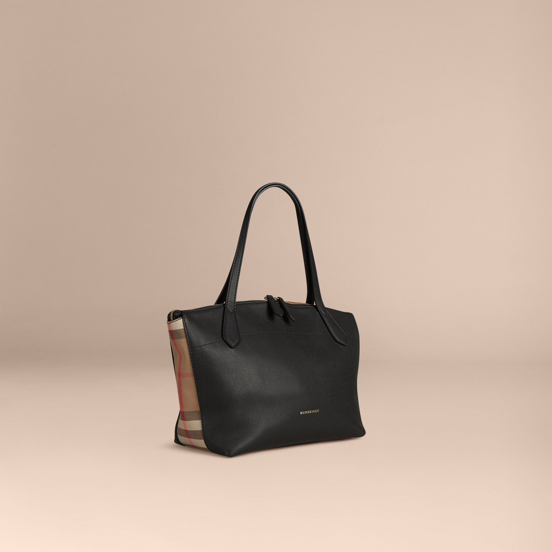 Medium Leather and House Check Tote Bag in Black - Women | Burberry - gallery image 0