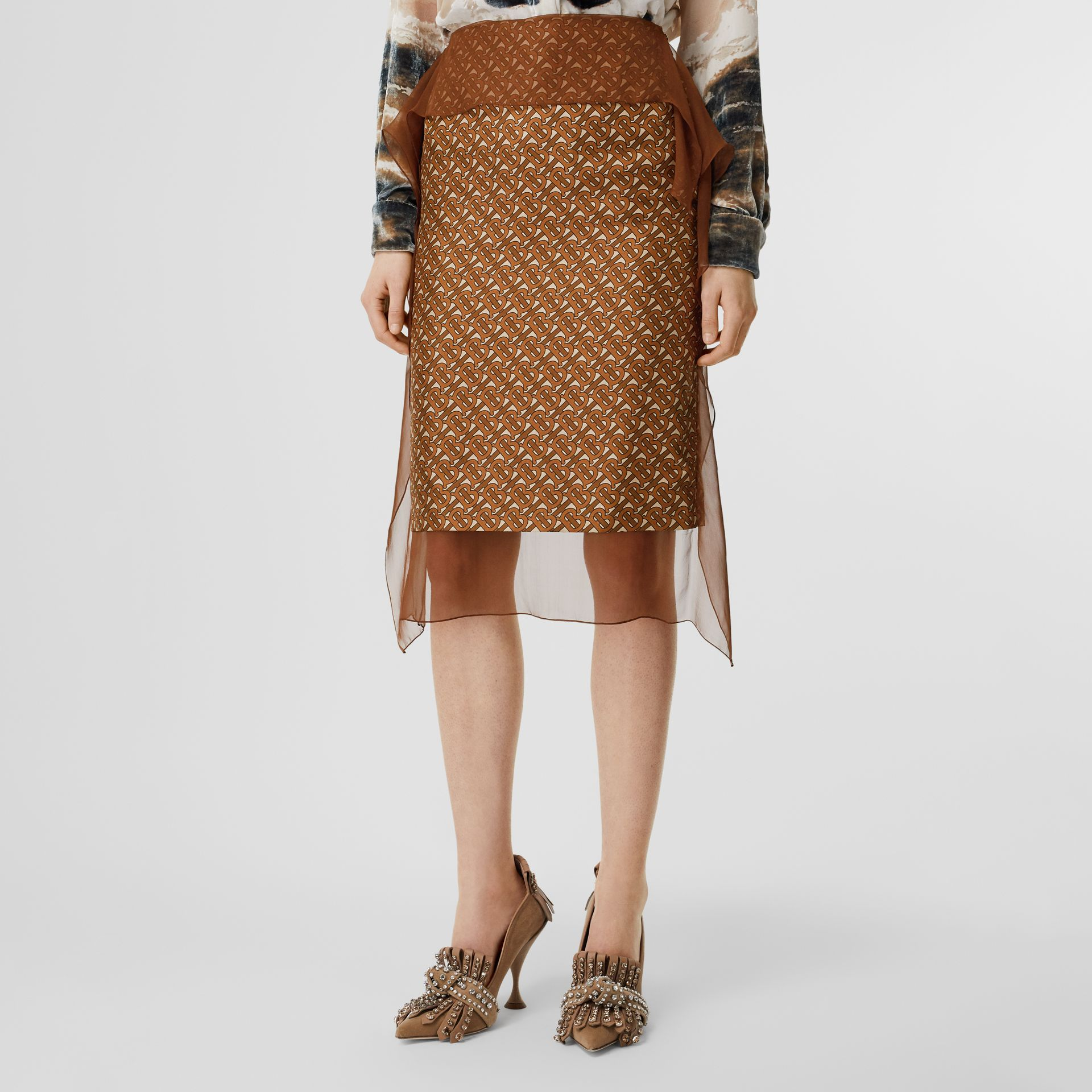 Scarf Detail Monogram Print Silk Pencil Skirt in Brown - Women | Burberry United Kingdom - gallery image 4