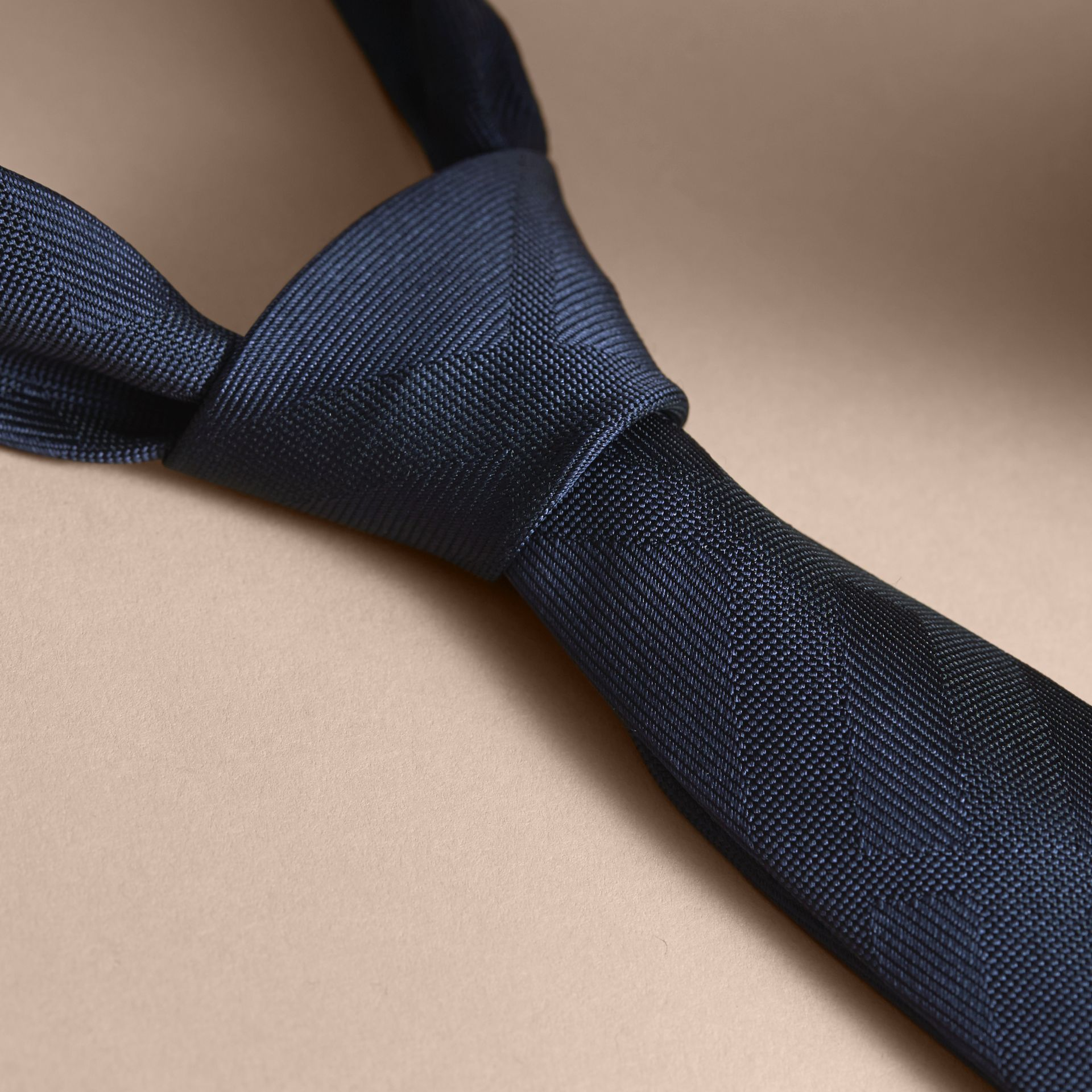 Slim Cut Check Silk Tie Navy - gallery image 2