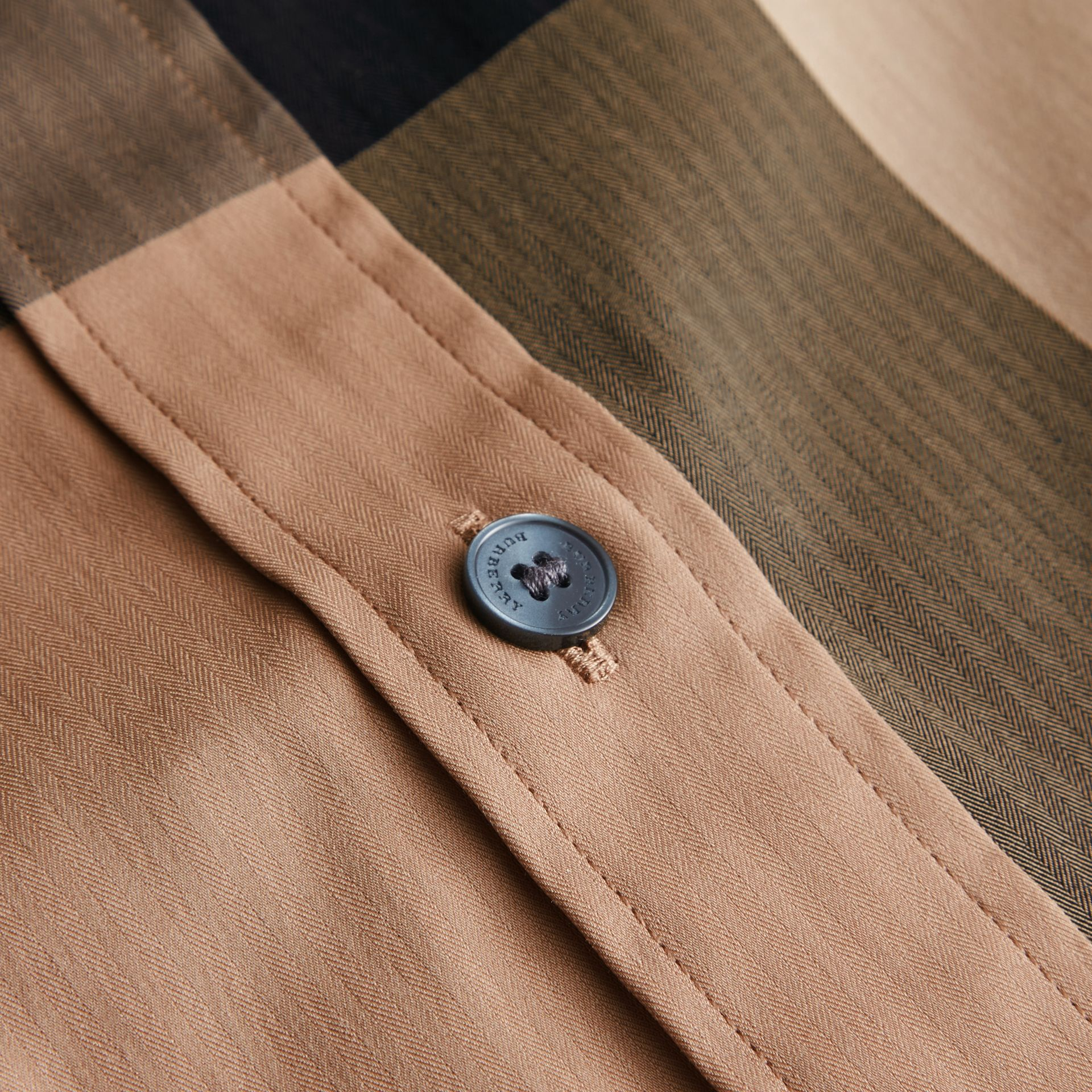 Short-sleeved Check Stretch Cotton Blend Shirt Camel - gallery image 2