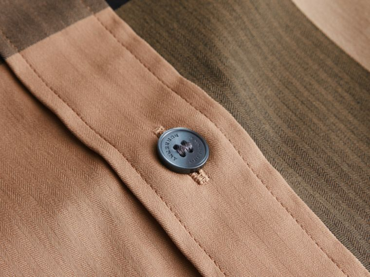 Short-sleeved Check Stretch Cotton Blend Shirt Camel - cell image 1
