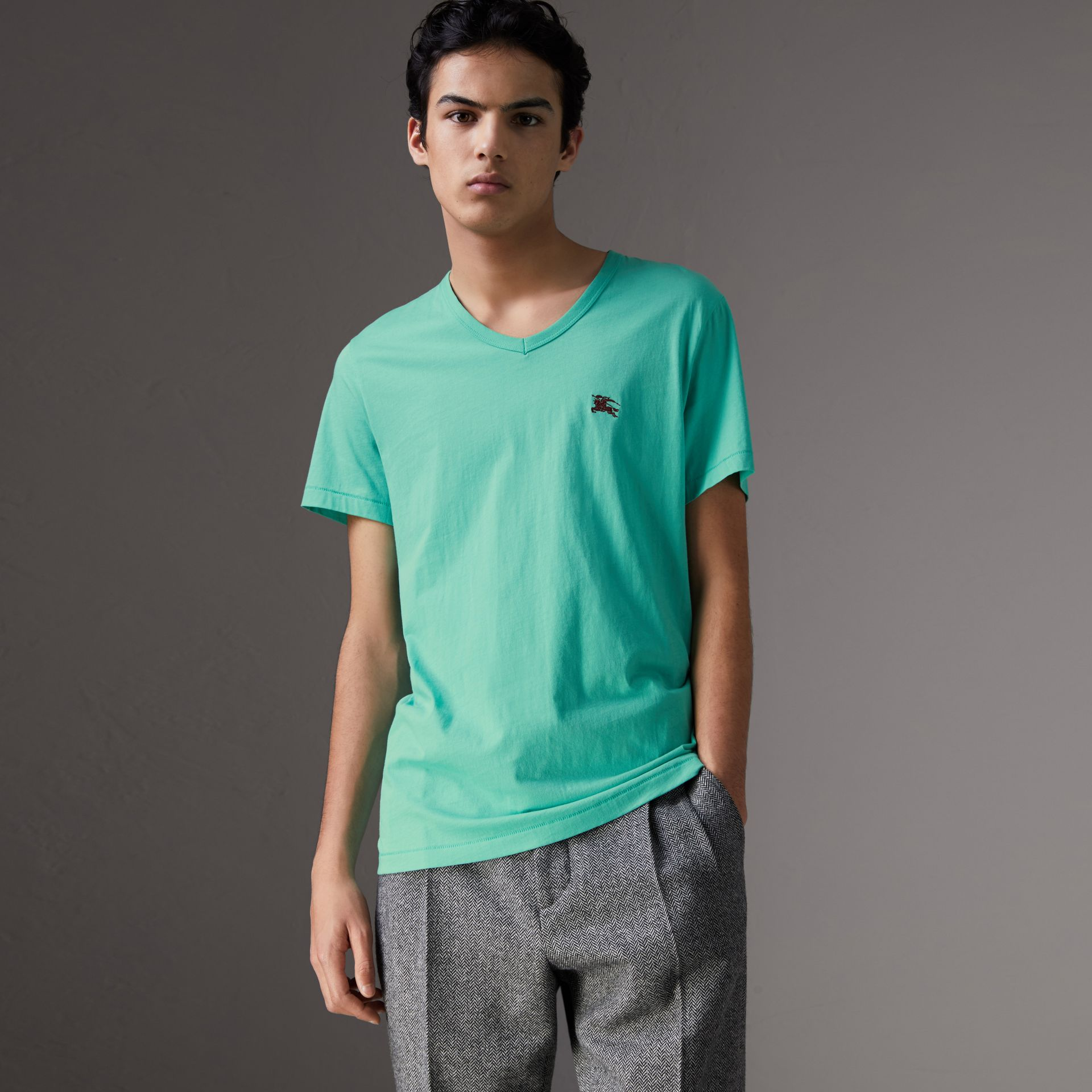 Cotton Jersey T-shirt in Turquoise - Men | Burberry United States - gallery image 0