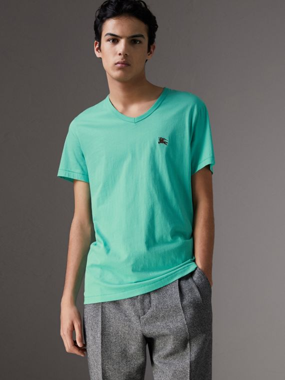Cotton Jersey T-shirt in Turquoise