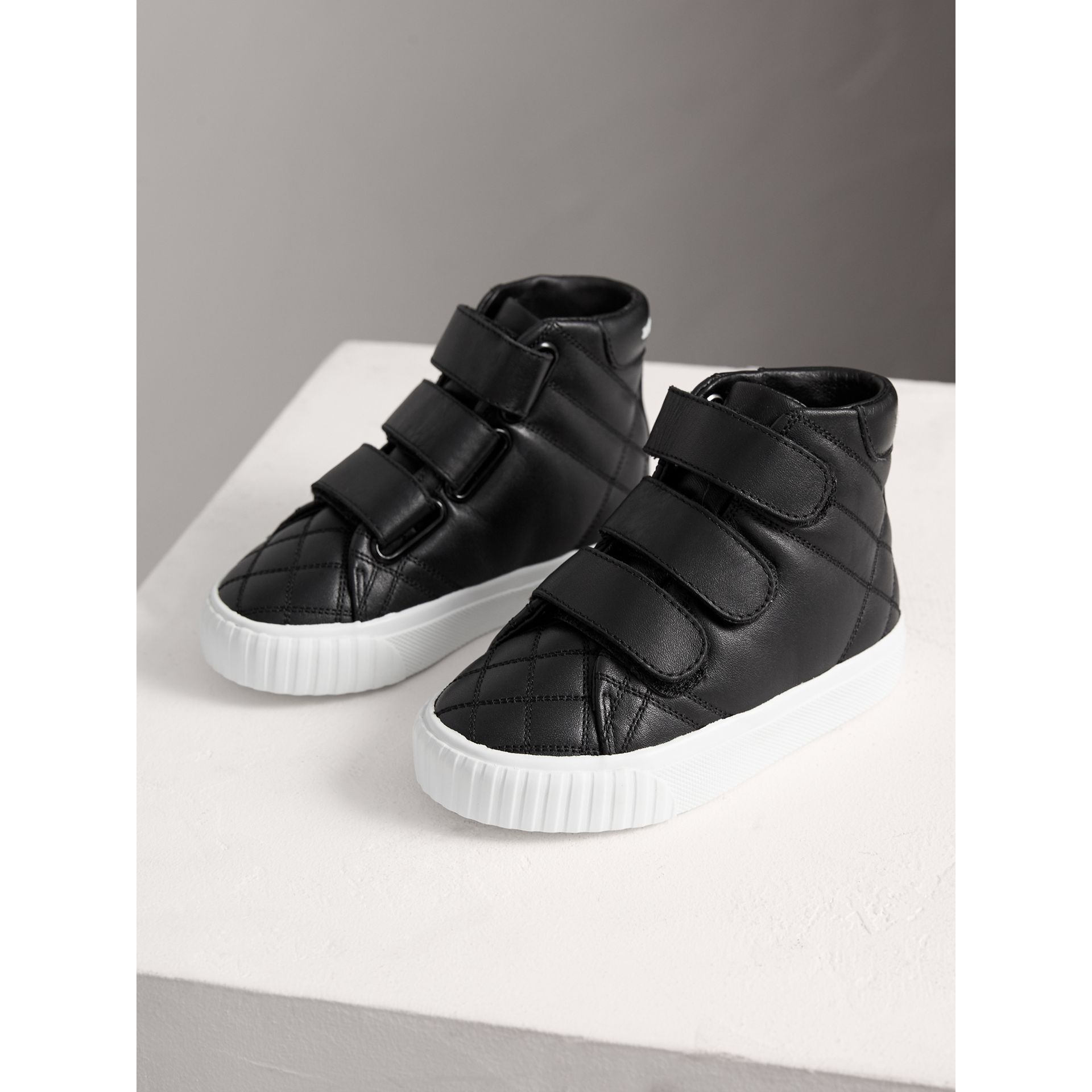 Check-quilted Leather High-top Sneakers in Black - Children | Burberry - gallery image 3