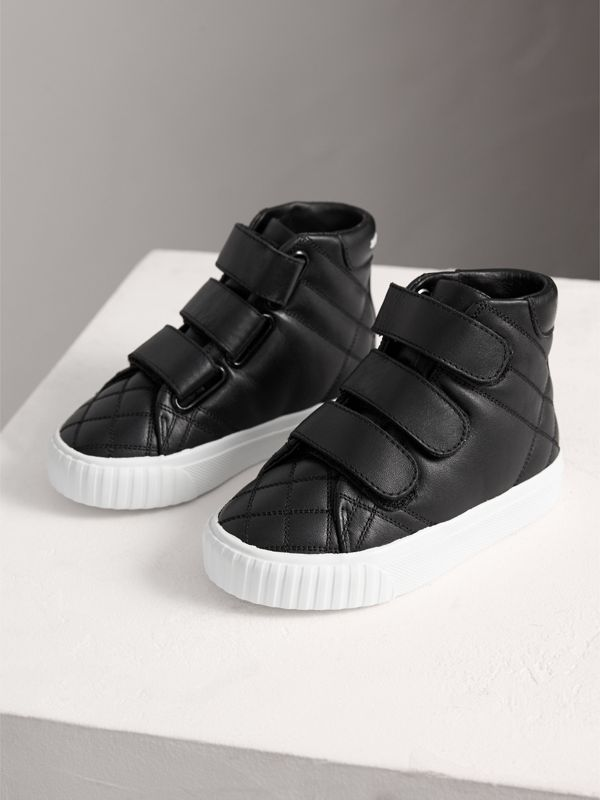 Check-quilted Leather High-top Sneakers in Black - Children | Burberry Singapore - cell image 3