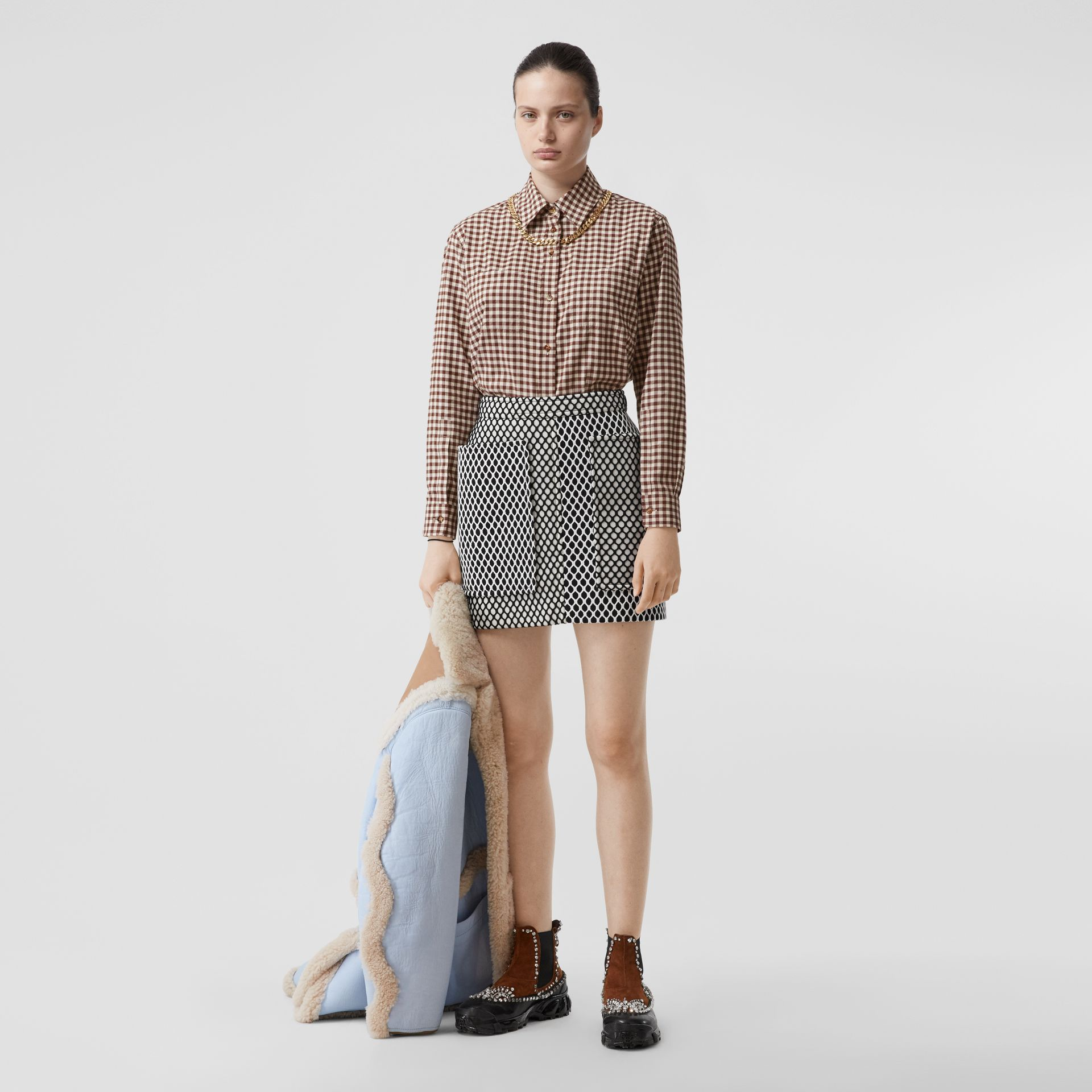 Chain Detail Gingham Cotton Flannel Oversized Shirt in Brown - Women   Burberry - gallery image 5