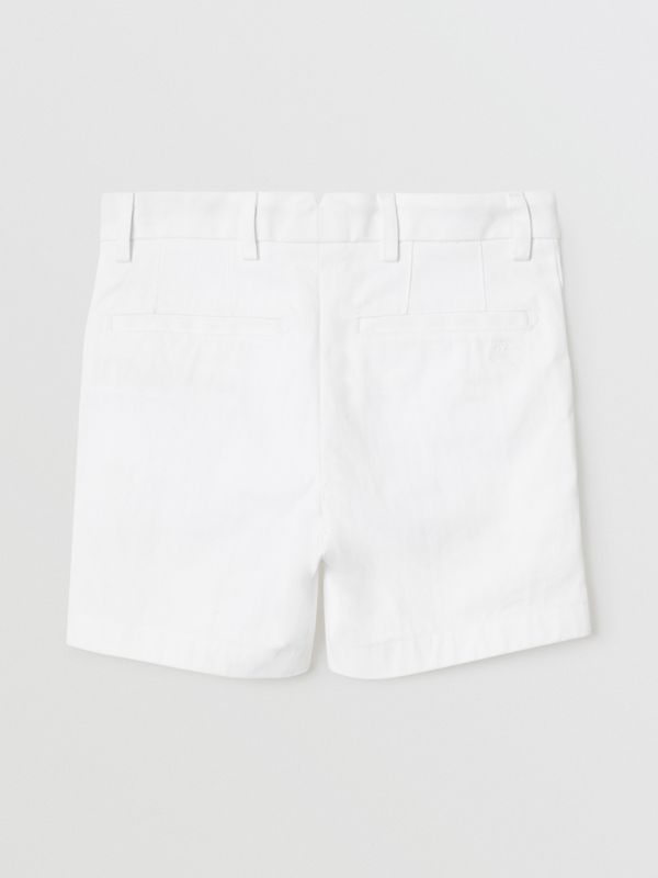 Cotton Chino Shorts in Optic White | Burberry - cell image 3