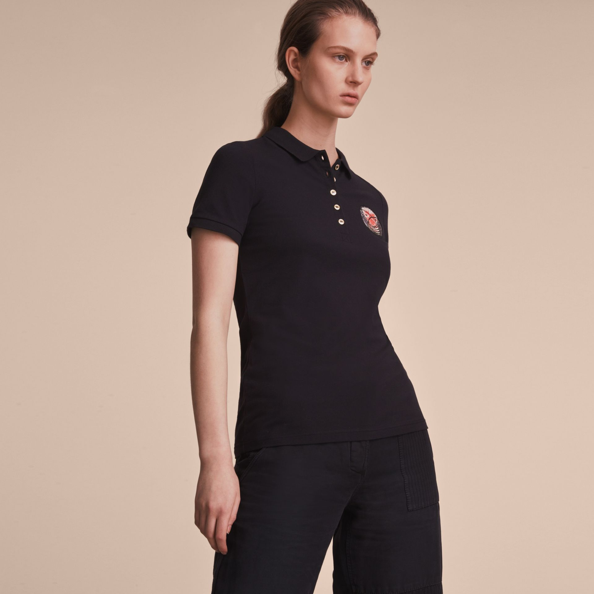 Pallas Heads Appliqué Cotton Piqué Polo Shirt Black - gallery image 6