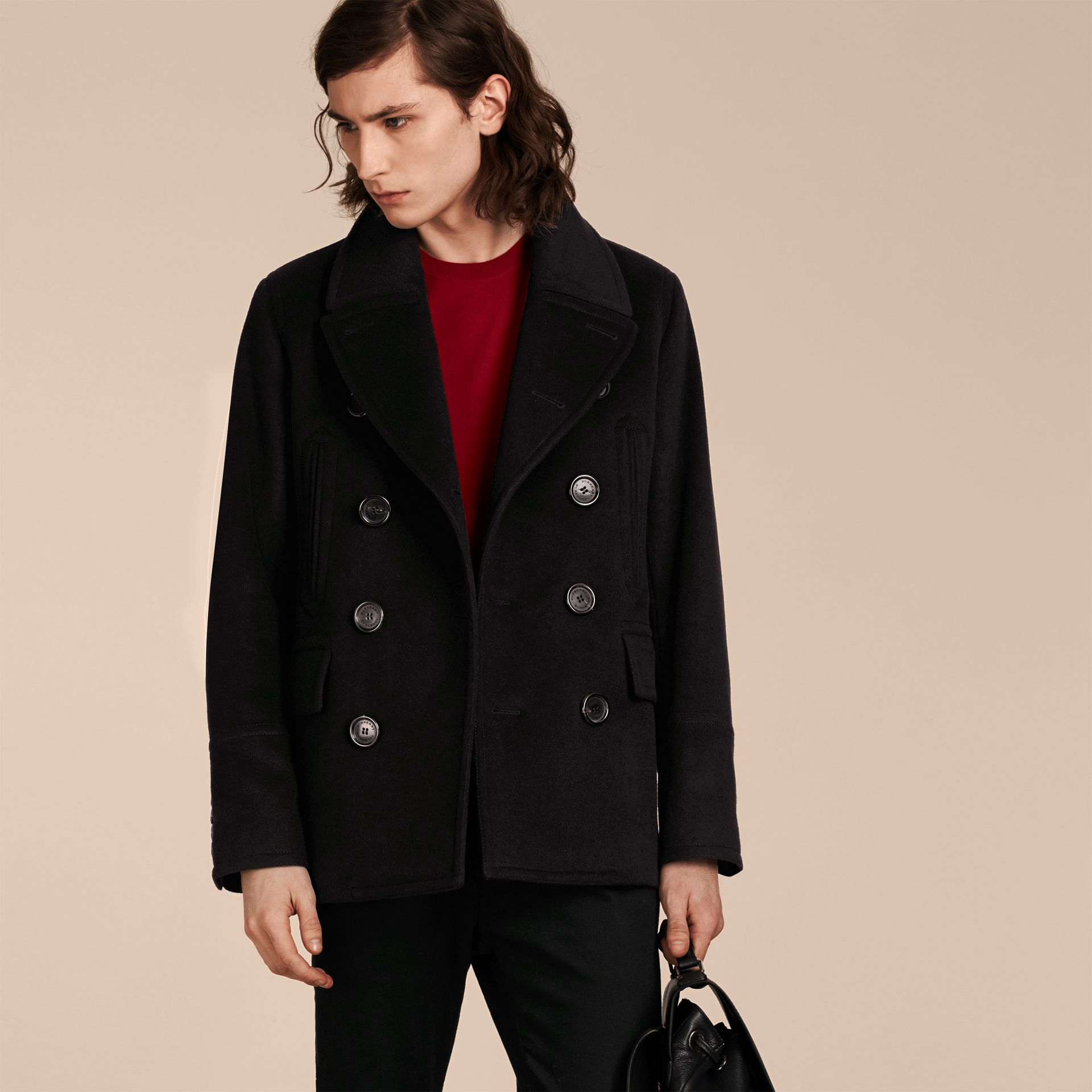 Wool Cashmere Pea Coat in Black - gallery image 1