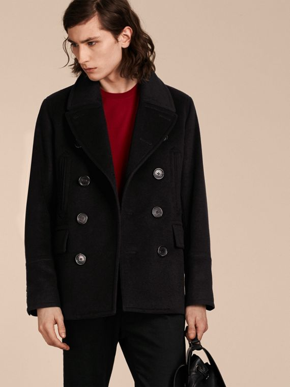 Pea coat in lana e cashmere Nero