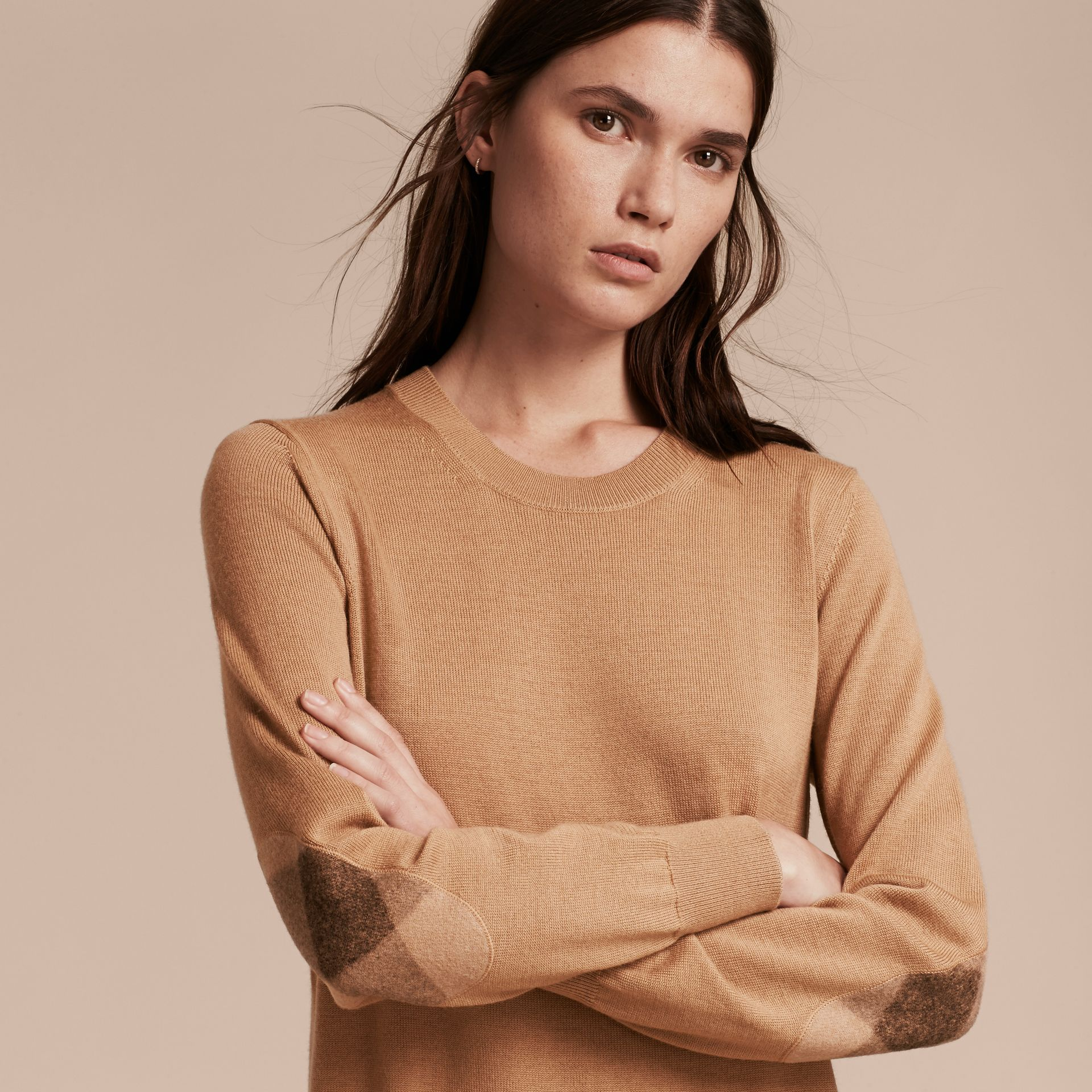 Check Elbow Detail Merino Wool Sweater Dress in Camel - gallery image 5
