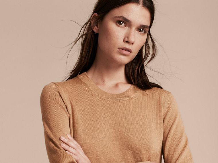 Check Elbow Detail Merino Wool Sweater Dress in Camel - cell image 4
