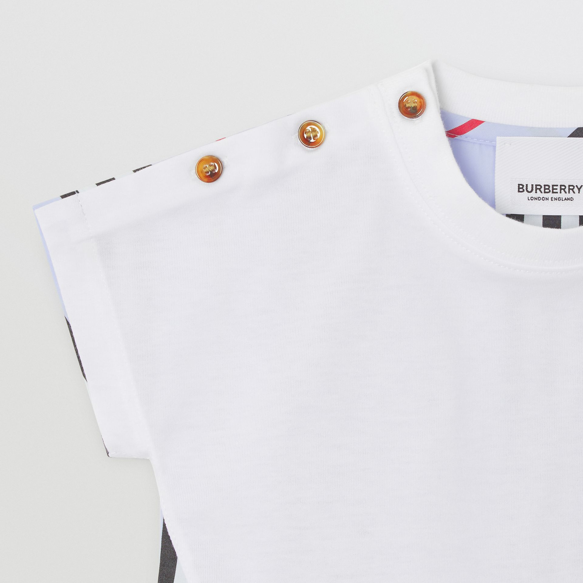 Icon Stripe Panel Cotton T-shirt in White/pale Blue - Children | Burberry - gallery image 4