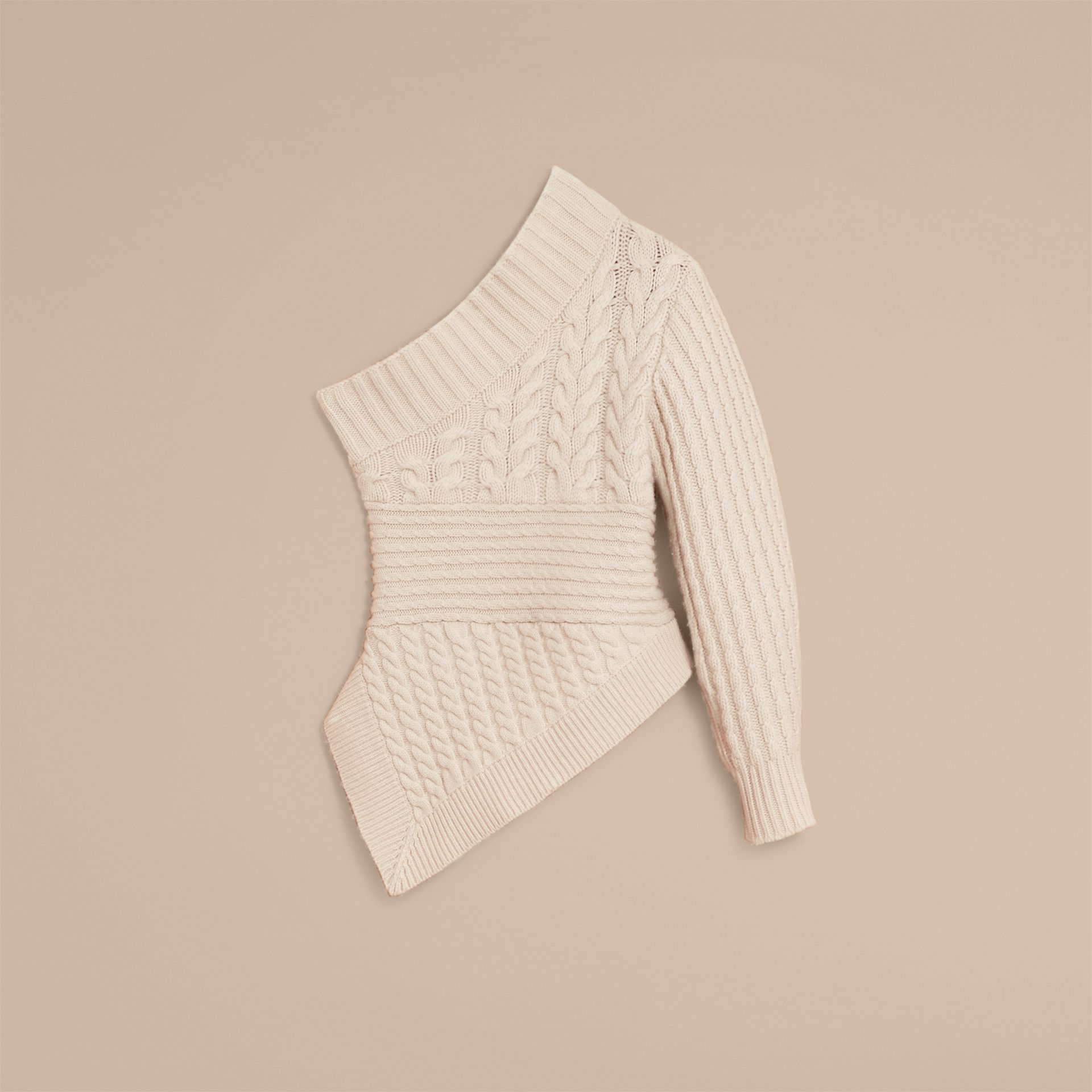One-shoulder Cable Knit Cashmere Sweater in Natural White - Women | Burberry - gallery image 4