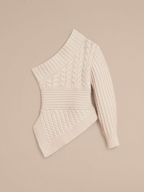One-shoulder Cable Knit Cashmere Sweater in Natural White - Women | Burberry - cell image 3