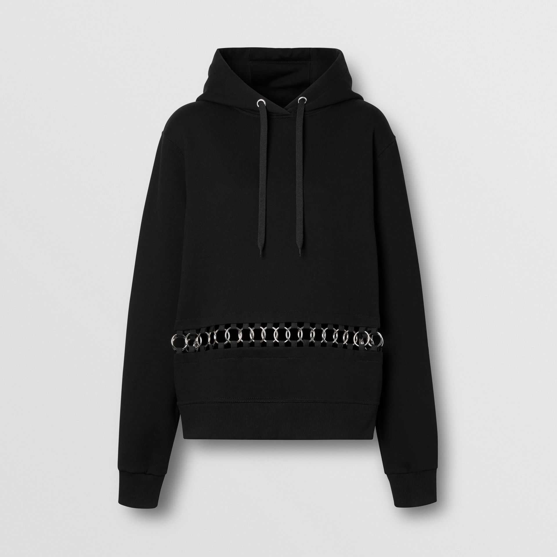 Ring-pierced Cotton Oversized Hoodie in Black - Women | Burberry United Kingdom - gallery image 3