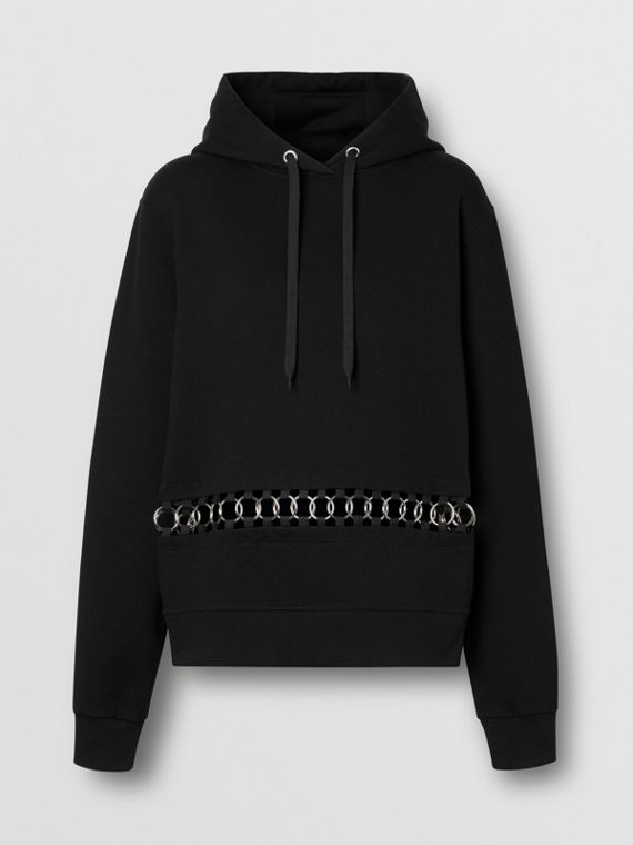 Ring-pierced Cotton Oversized Hoodie in Black