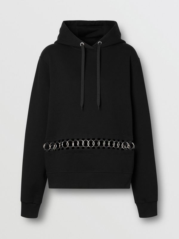 Ring-pierced Cotton Oversized Hoodie in Black - Women | Burberry - cell image 3