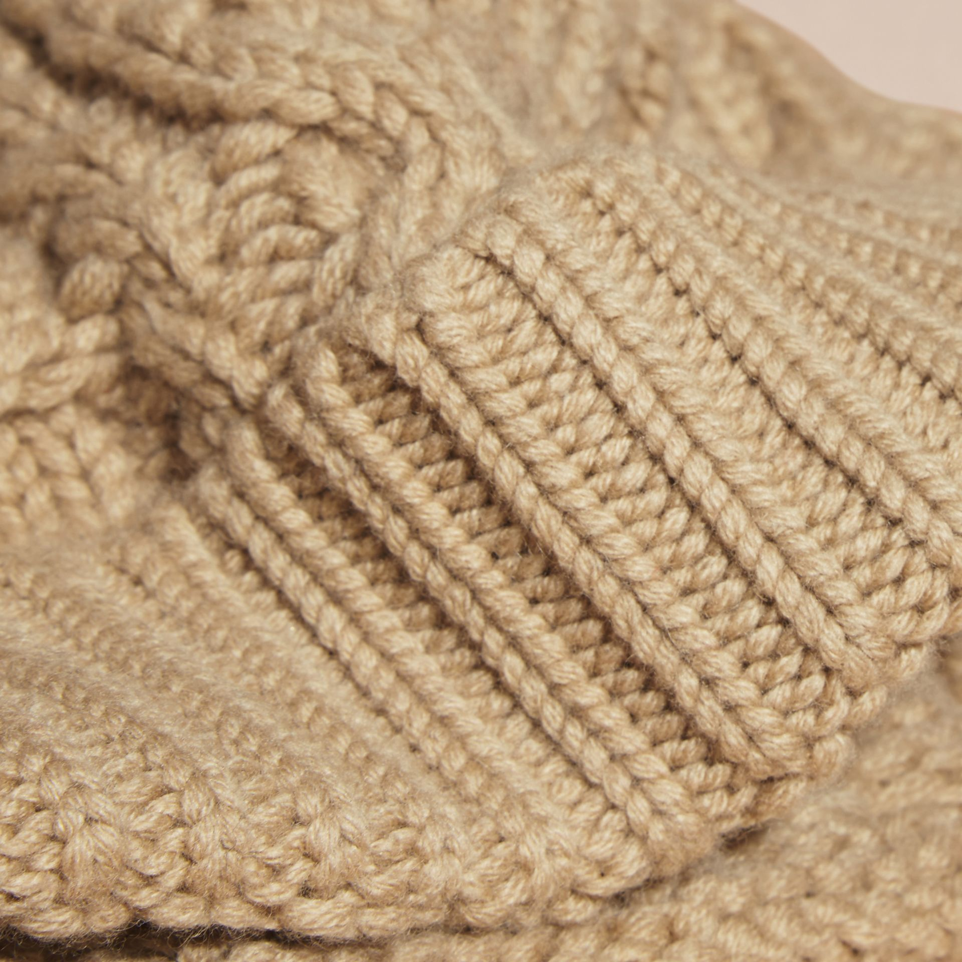 Camel Aran Knit Wool Cashmere Beanie Camel - gallery image 2
