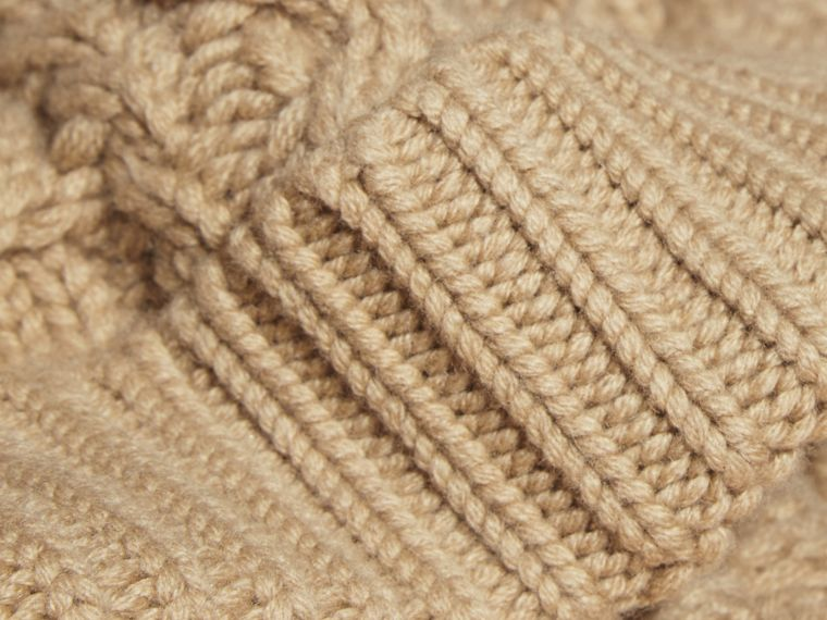 Aran Knit Wool Cashmere Beanie in Camel - cell image 1