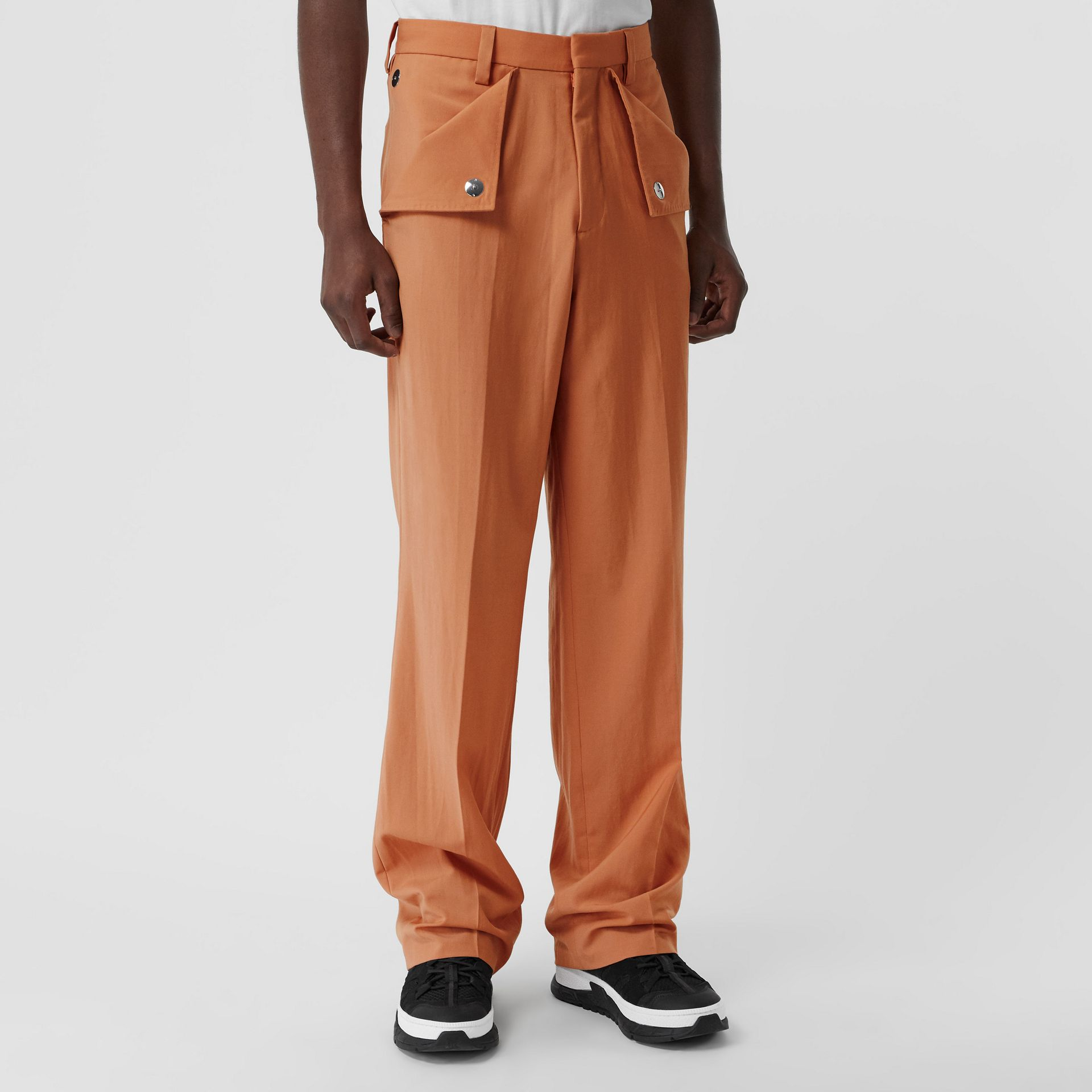 Tumbled Wool Wide-leg Trousers in Orange | Burberry United States - gallery image 4