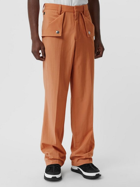 Tumbled Wool Wide-leg Trousers in Orange