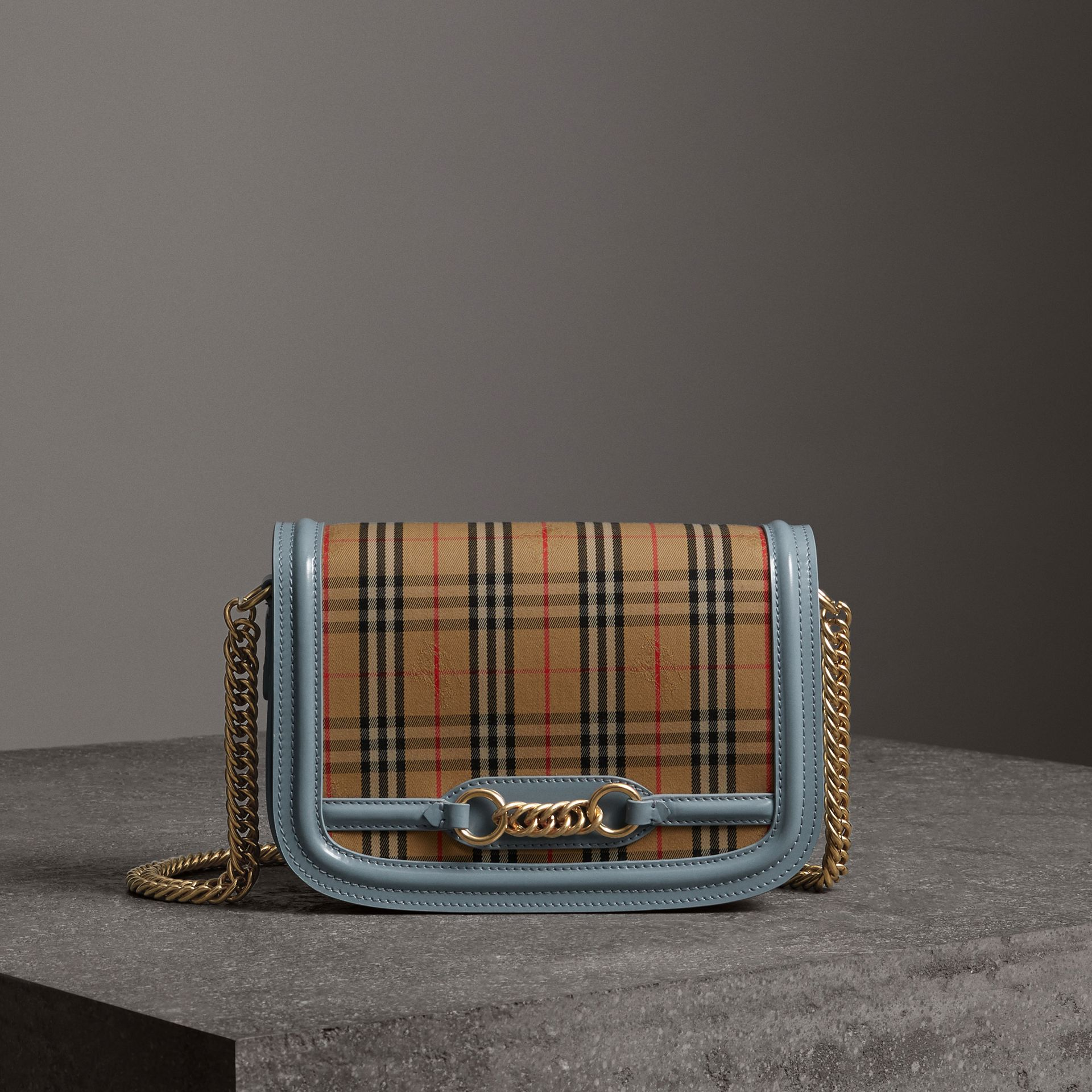 The 1983 Check Link Bag with Patent Trim in Blue Sage - Women | Burberry Canada - gallery image 0