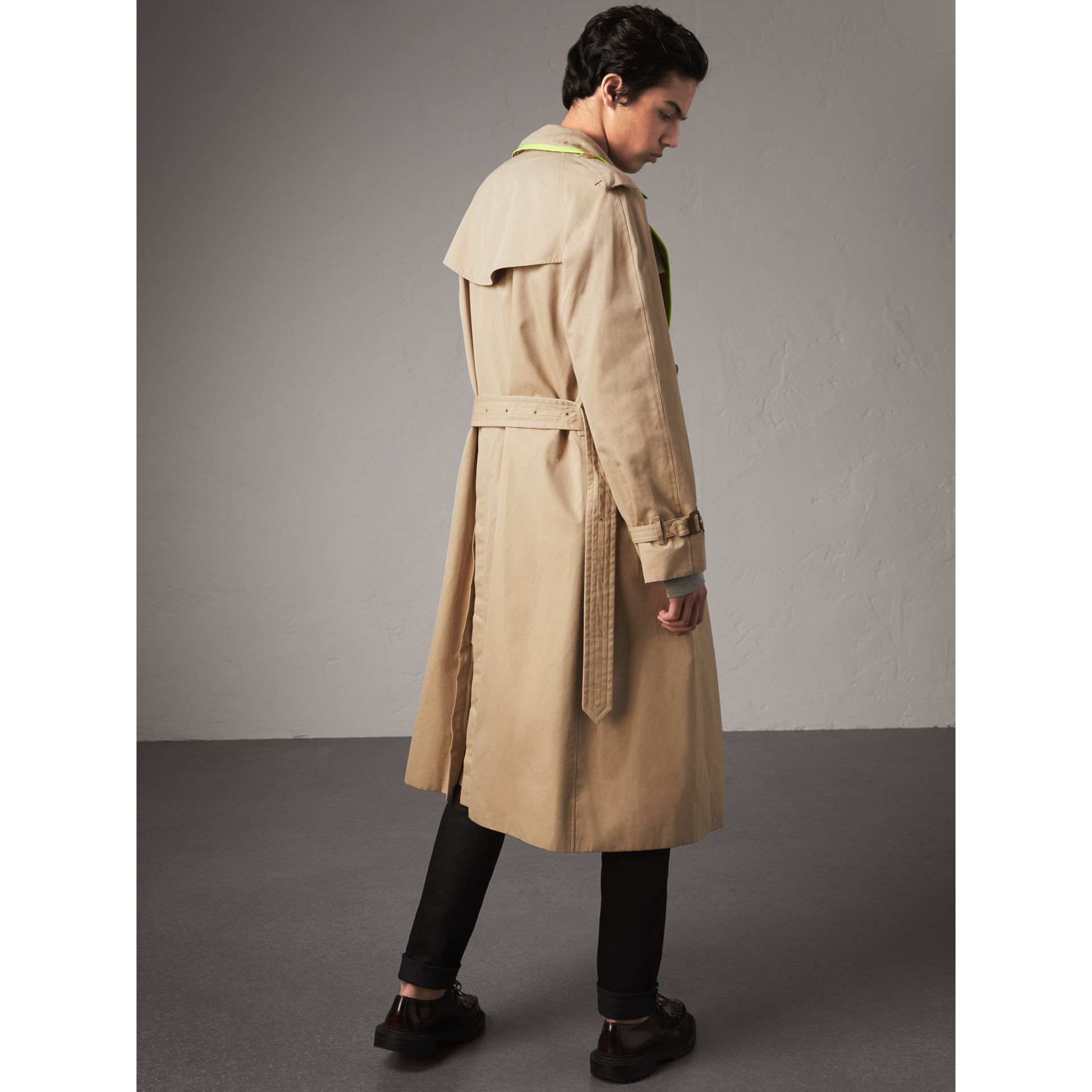 Tape Detail Cotton Gabardine Trench Coat in Honey - Men | Burberry - gallery image 2
