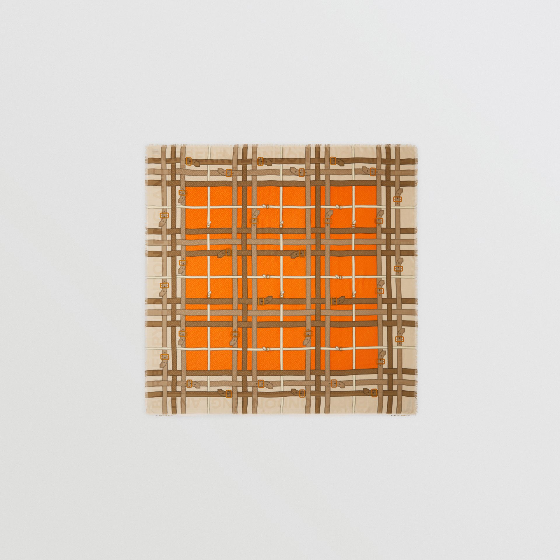 Archive Scarf Print Silk Wool Large Square Scarf in Bright Orange | Burberry - gallery image 0