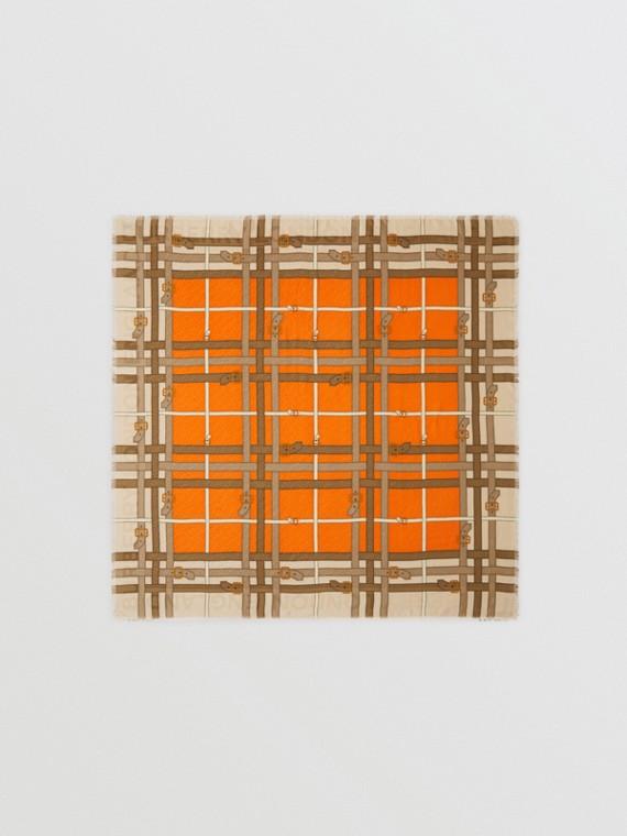 Grand carré de soie et laine à imprimé écharpes d'archive (Orange Vif)