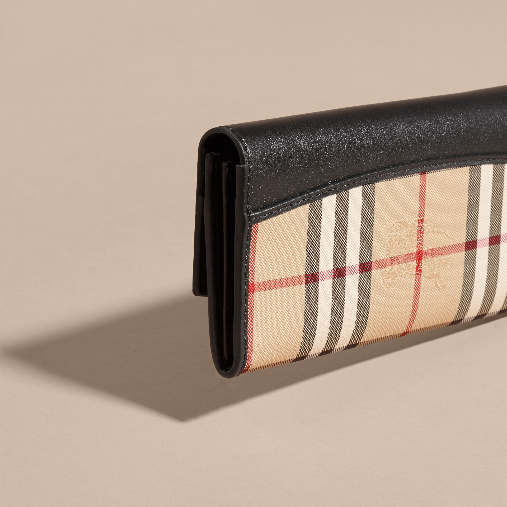 Horseferry Check and Leather Continental Wallet in Black - Women | Burberry - gallery image 4