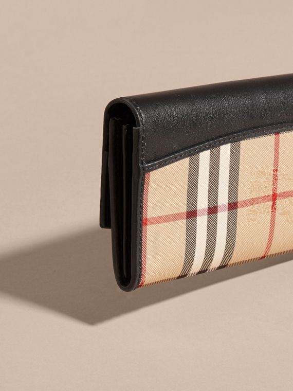 Horseferry Check and Leather Continental Wallet in Black - Women | Burberry - cell image 3