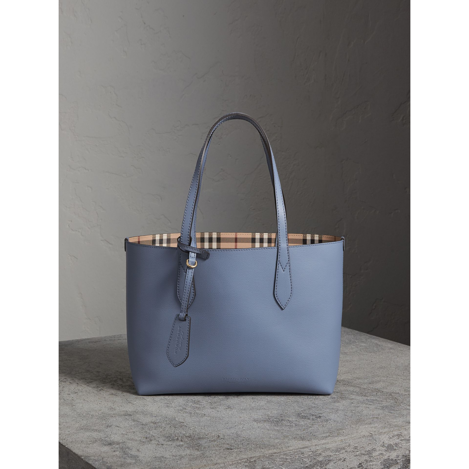 The Small Reversible Tote in Haymarket Check and Leather in Slate Blue - Women | Burberry - gallery image 1