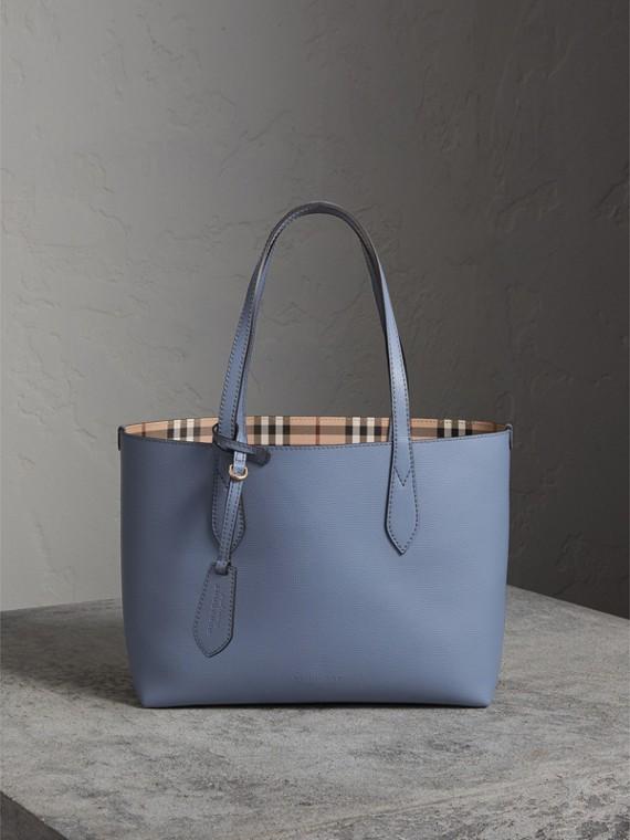 La borsa tote double face piccola con motivo Haymarket check e pelle (Blu Ardesia)