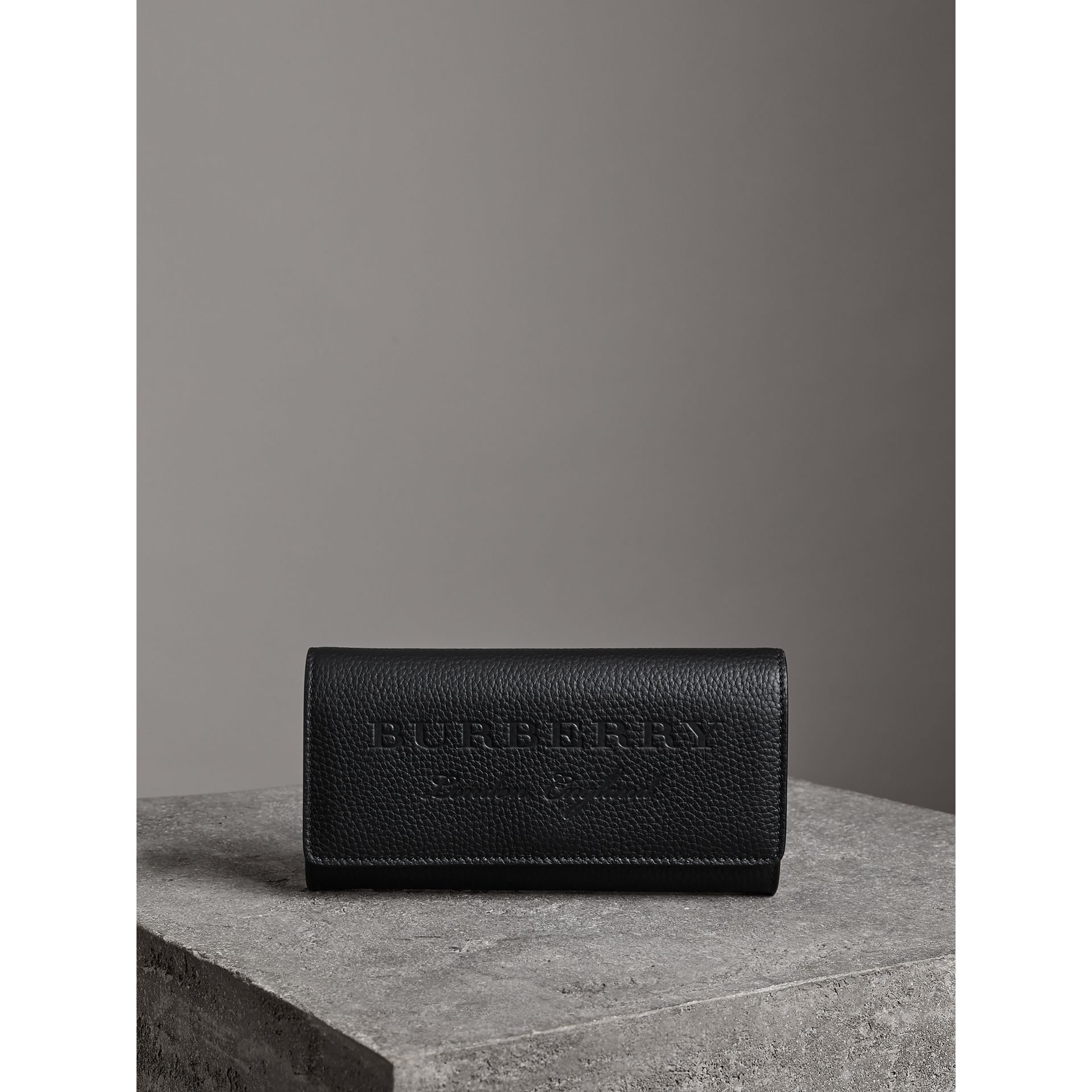 Embossed Leather Continental Wallet in Black - Women | Burberry - gallery image 3