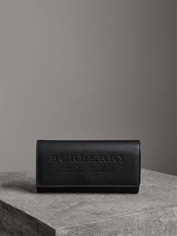 Embossed Leather Continental Wallet in Black - Women | Burberry - cell image 3