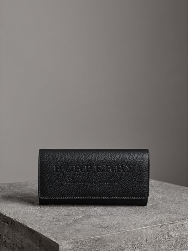 Embossed Leather Continental Wallet in Black - Women | Burberry United Kingdom - cell image 3