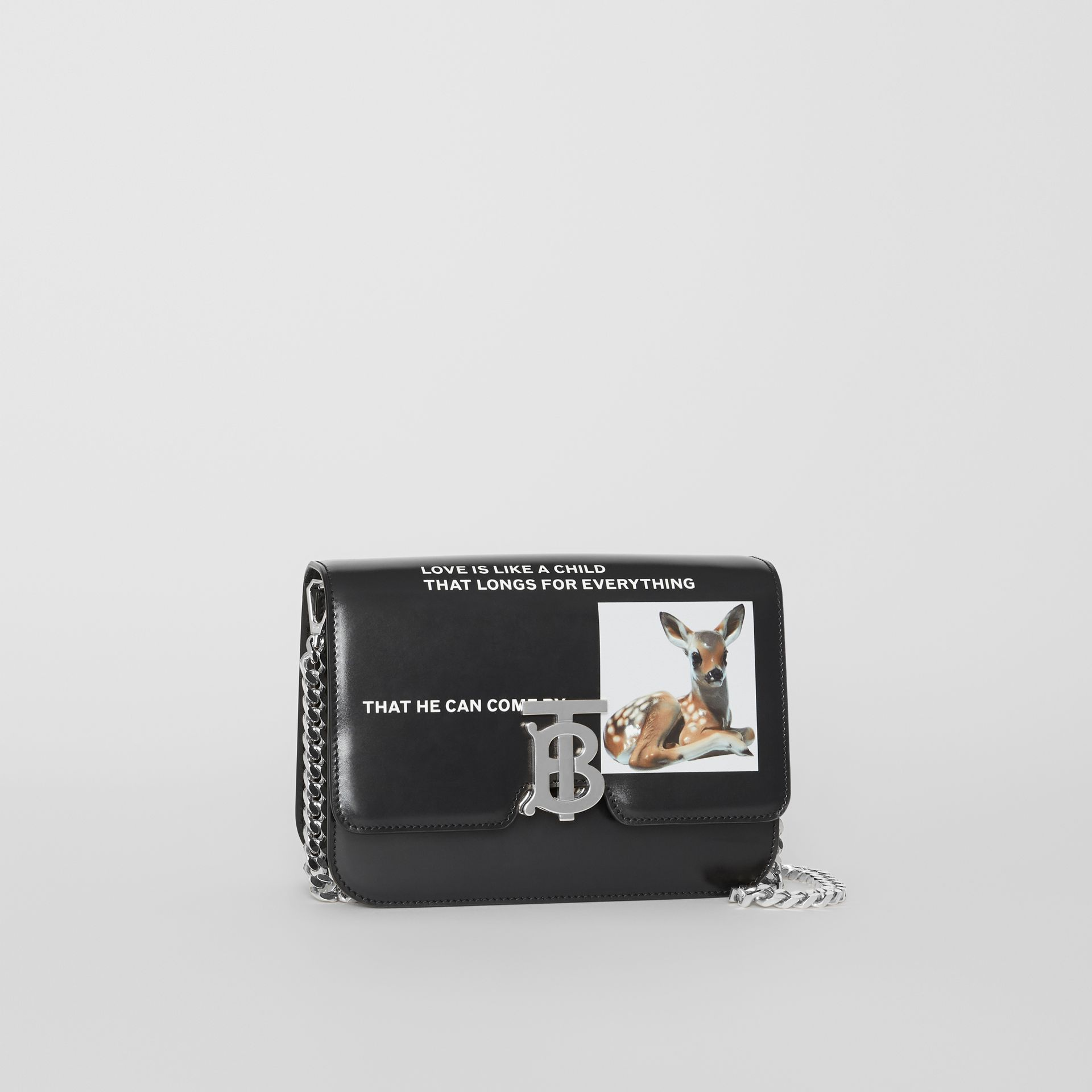 Small Montage Print Leather TB Bag in Black - Women | Burberry Australia - gallery image 6