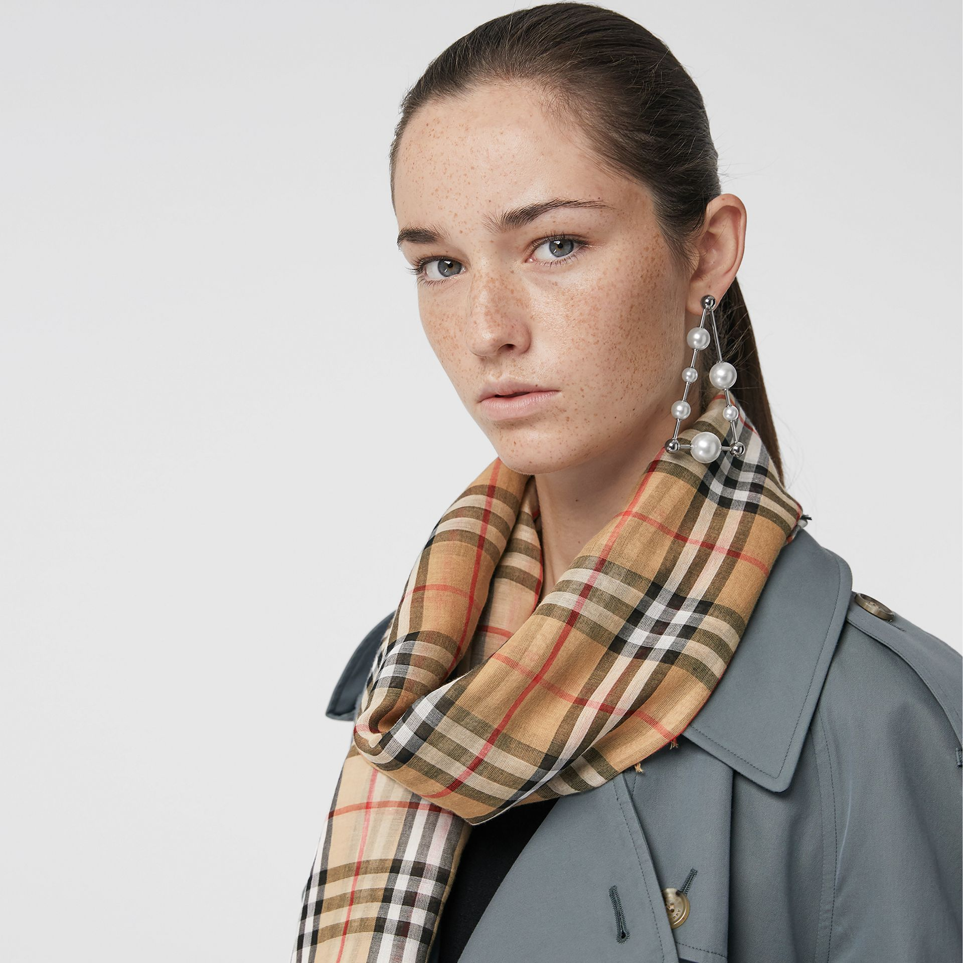 Two-tone Vintage Check Cotton Square Scarf in White | Burberry Australia - gallery image 4