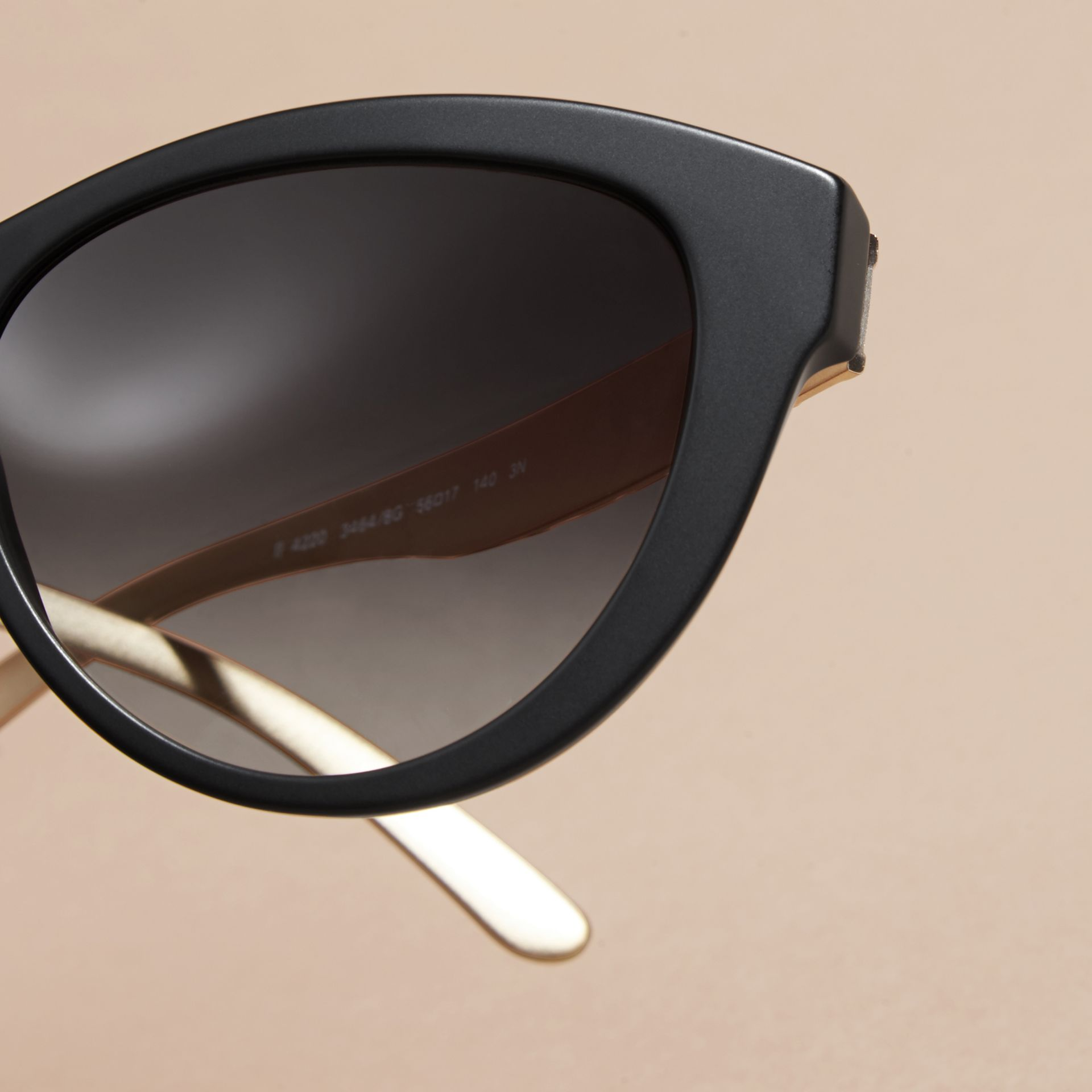 Black 3D Check Cat-eye Sunglasses Black - gallery image 2