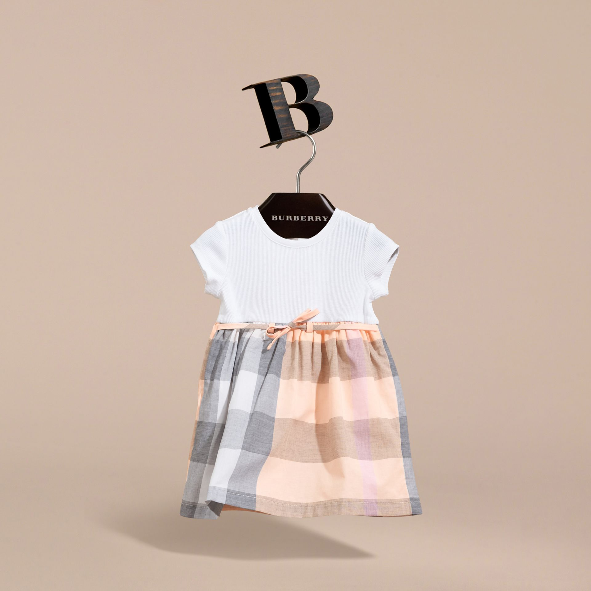 Check Cotton Jersey T-shirt Dress in Apricot | Burberry Australia - gallery image 3
