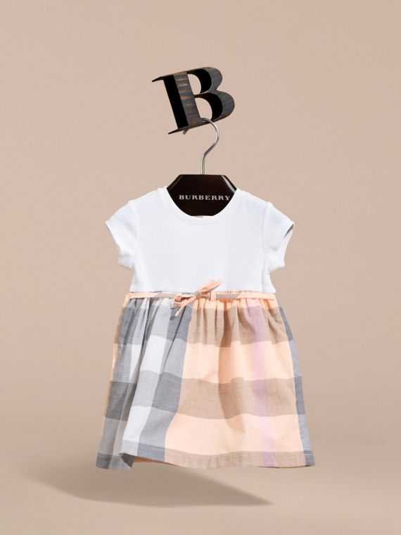 Check Cotton Jersey T-shirt Dress in Apricot | Burberry - cell image 2