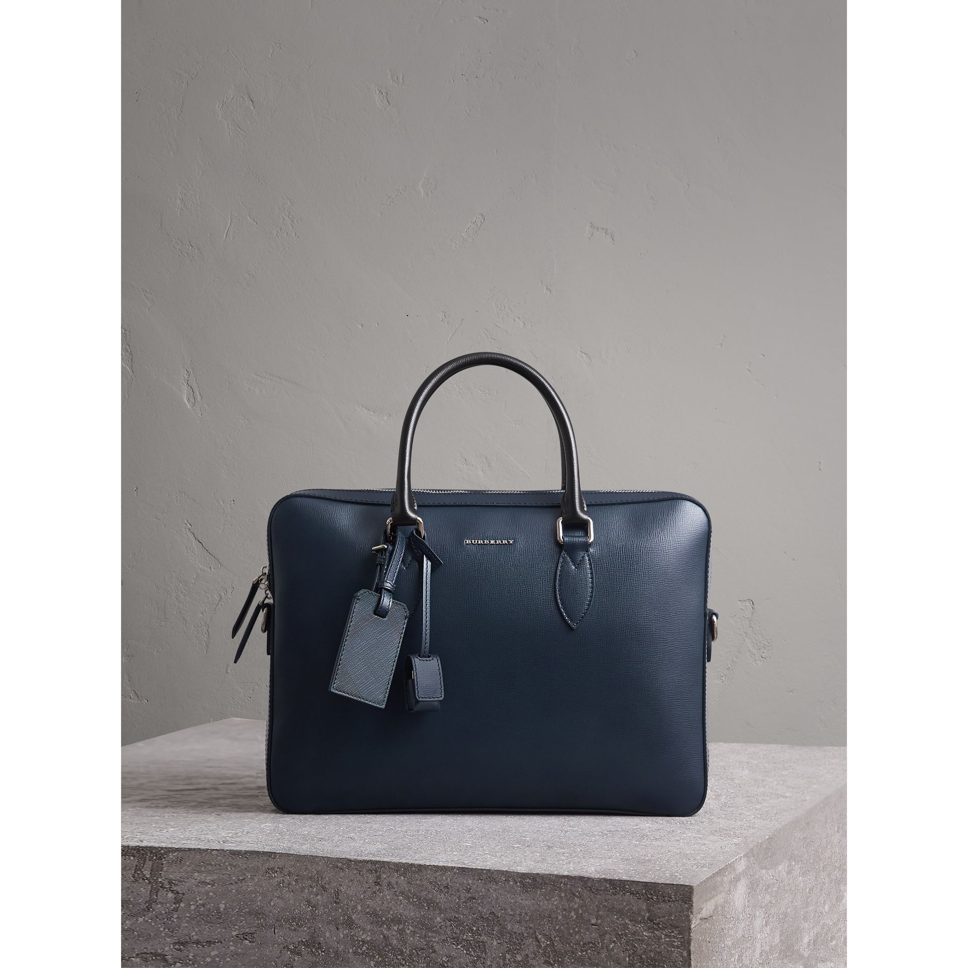 London Leather Briefcase in Dark Navy/black - Men | Burberry - gallery image 1