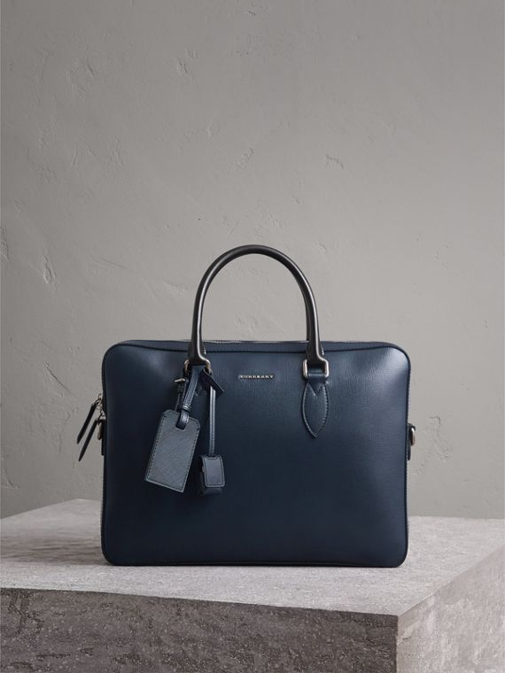 London Leather Briefcase in Dark Navy/black