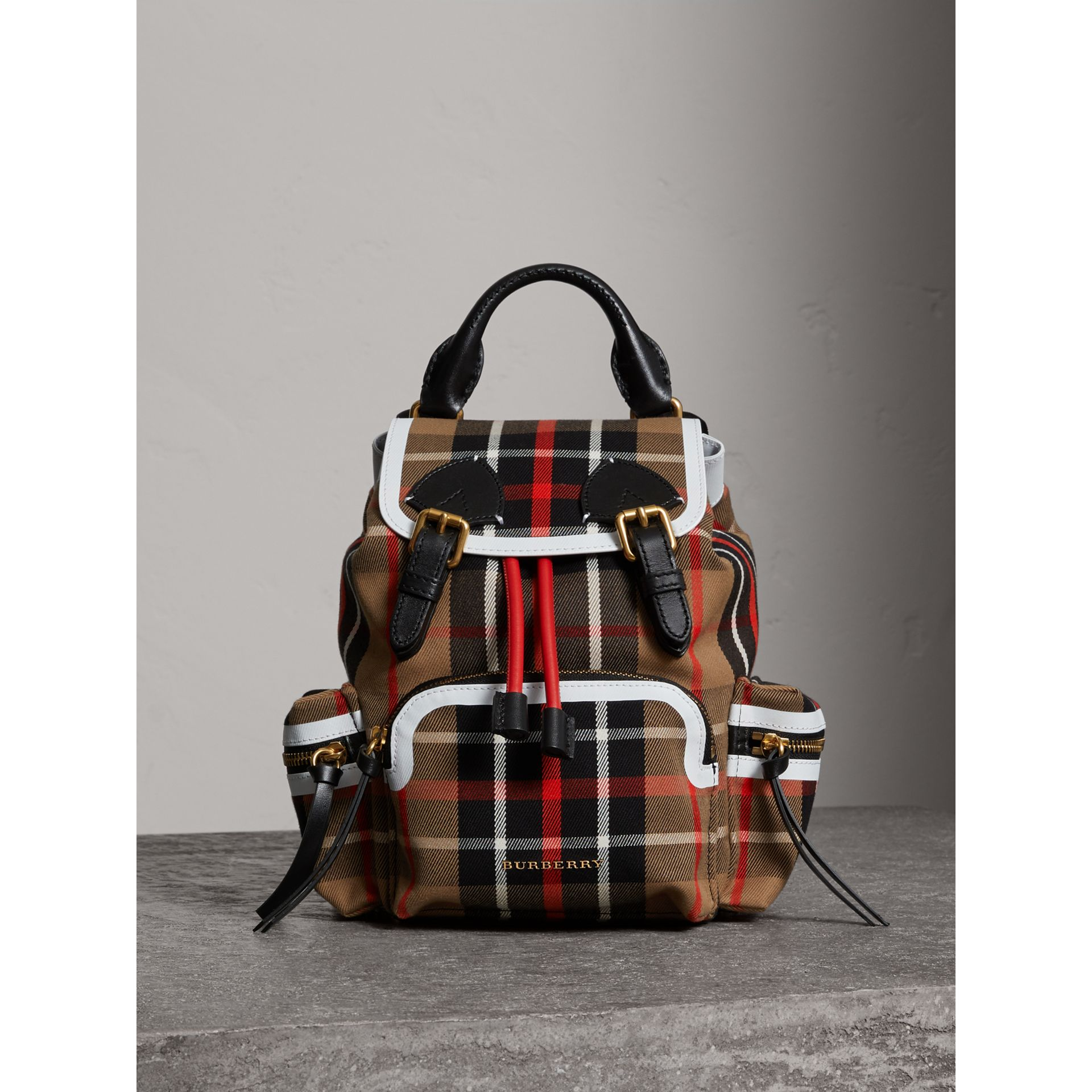 The Small Rucksack in Check Cotton and Leather in Caramel - Women | Burberry United Kingdom - gallery image 6